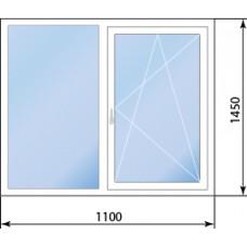 Двухстворчатое окно Rehau Geneo одна створка поворотно-откидная
