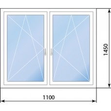 Двухстворчатое окно KBE 88 две створки поворотно-откидные